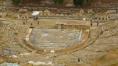 dionysus : View from top at Dionysus Theater stage, amphitheater seats, tourist attraction