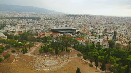 dionysus : Beautiful aerial cityscape of Athens with ancient theater and modern museum
