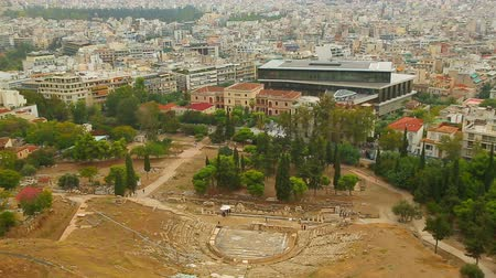 dionysus : Amazing aerial view of Athens cityscape, Dionysus Theatre, new Acropolis Museum