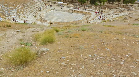 dionysus : Open-air museum at ruins of antique theater, ancient amusement place in Greece Stock Footage