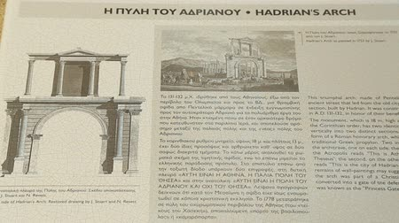 описание : Reference information about Hadrians Arch for tourists in Greek and English Стоковые видеозаписи