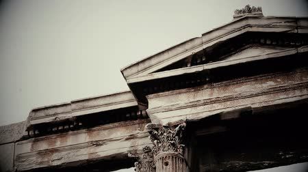 frightful : Black and white shot of ancient Greek or Roman architecture design, old movie