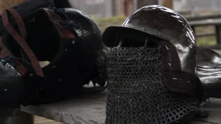 munitions : Steel armour and helmet with chain mail facemask prepared by warrior for Crusade