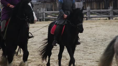 reencenação : Men wearing ancient suits riding horses, medieval town atmosphere Stock Footage