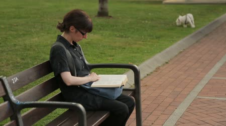 enciclopédia : Woman reading book while having rest in summer park, funny dog playing on lawn Stock Footage