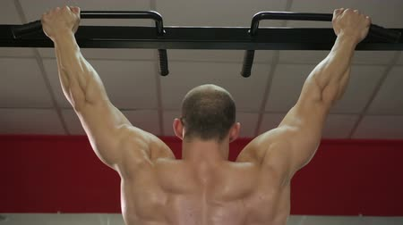 yaşama gücü : Back view of strong male athlete with muscular arms and shoulders hanging on bar