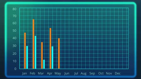 demographic : Electronic bar chart showing monthly results compared to previous year data Stock Footage