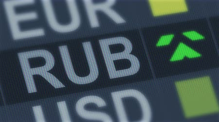 dalgalanan : Russian ruble rising, falling. World exchange market. Currency rate fluctuating