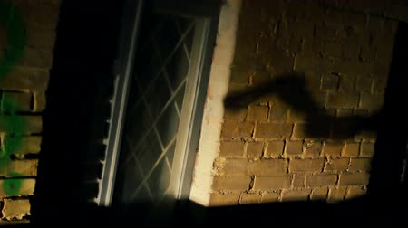 committing : Shadow of maniacs hand with axe on wall of abandoned building, horror film