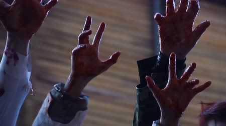 bloodshed : Hungry supernatural creatures attack victim, nightmare about zombie invasion Stock Footage