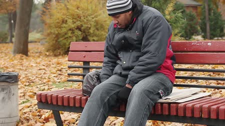 spent : Manual worker sleeping drunk on bench, problems with health, unhealthy lifestyle