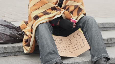 dole : Socially vulnerable lonely man asking for help and begging, poverty and sadness