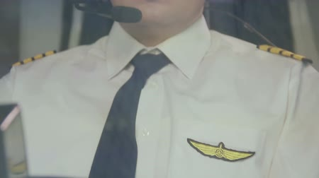 aircrew : Exhausted airline captain maneuvering plane, hard work, prestigious profession Stock Footage