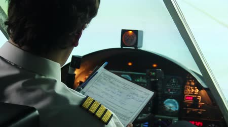 aircrew : Airplane standing on runway, pilot filling out documents and starting flight Stock Footage