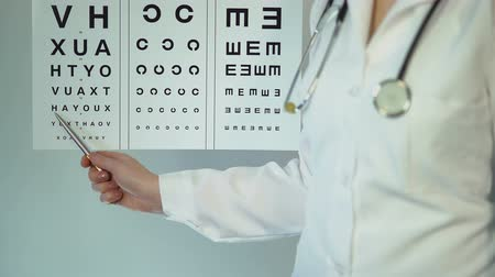 okulista : Optometrist examining patient and prescribing treatment and drugs, medicine