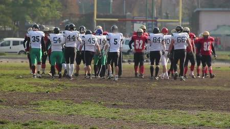 замена : Break in American football match, opposing teams changing sides of gridiron