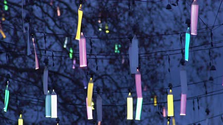 exposição : Creative design of city street illumination, festive fluorescent decoration Vídeos