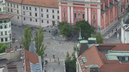annunciation : Many tourists walking Preseren Square in Ljubljana, tour to Slovenia, top view