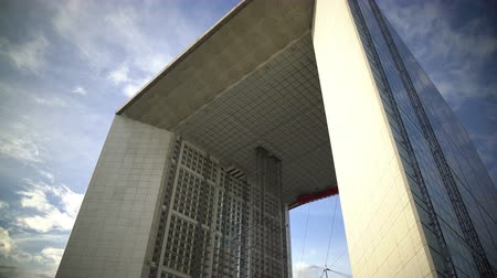 arche : Panorama of Grande Arche in Paris, famous landmark in business city center Stock Footage