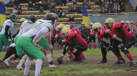 feszült : Tense moment on scrimmage line before ball snap, football teams ready to fight