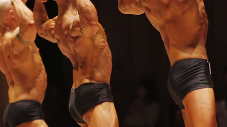 feszült : Professional male bodybuilders demonstrating ripped lat muscles in rear pose Stock mozgókép