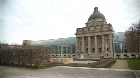 chancellery : Panorama of famous Hofgarten Royal Residence and theï¾ glass State Chancellery Stock Footage