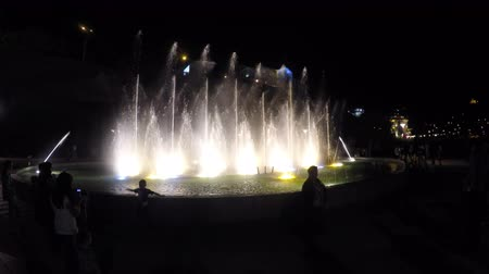 wavelets : Silhouettes of people near illuminated fountain, water splashing in the air Stock Footage