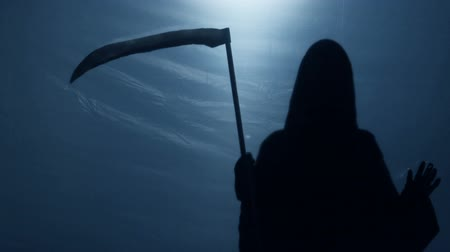 incurable : Inevitable Grim Reaper shadow looking at sinner from underworld, death anxiety Stock Footage