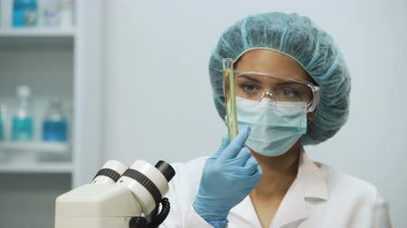 bacteriological : Biracial laboratory assistant checking liquids in medical tubes on transparency Stock Footage