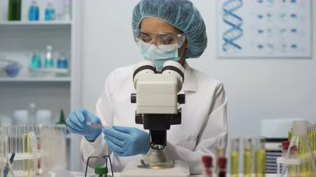 bacteriological : Medical worker doing blood analysis on microscope at laboratory, health-care Stock Footage