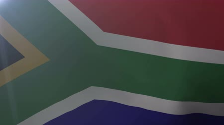 pretoria : Flag of South Africa waving on flagpole in the wind, national symbol of freedom Stock Footage