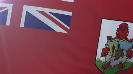 bermudas : Flag of Bermuda waving on flagpole in the wind, national symbol of freedom Vídeos