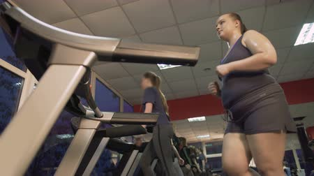 self motivated : Motivated overweight woman actively working out on treadmill, weightloss program