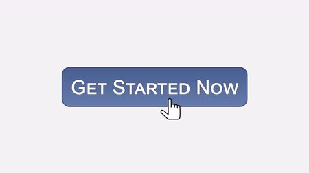 щелчок : Get started now web interface button clicked with mouse, different color choice Стоковые видеозаписи