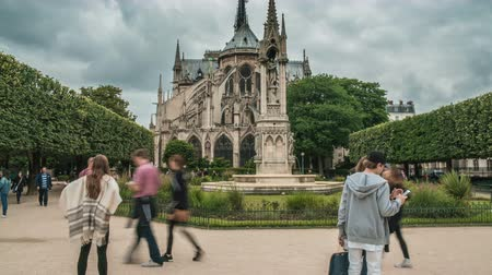 proposta : Wedding couples posing in garden near Notre-Dame de Paris Cathedral, timelapse