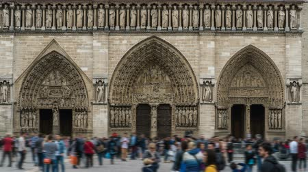 foreigner : Main entrance to Notre-Dame de Paris with crowd of tourists in front, time-lapse Stock Footage