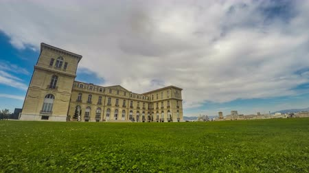 faculty : Aix-Marseille University building, spacious green lawn near entrance, timelapse Stock Footage