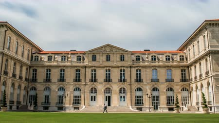 medical student : Facade of medicine faculty of Aix-Marseille University, students hanging around Stock Footage