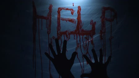 bloody hands : Kidnapped person seeking help, bloody message on plastic cloth, murder, slow-mo