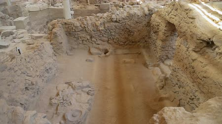 buried : Ancient houses excavated from volcanic ash in Akrotiri settlement on Santorini