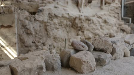 millennium : Akrotiri settlement under ongoing excavation from volcanic ash panorama sequence