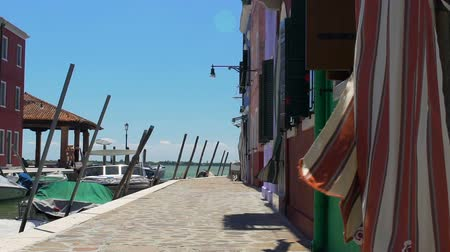 burano : Midday siesta during hot hours of day in deserted Venice street, slow motion