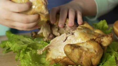 круглолицый : Overweight woman tearing pieces of meat from roast chicken, eating with hands