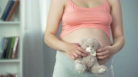 the fetus : Tender emotions of pregnant woman hugging soft teddy bear, anticipation of baby Stock Footage