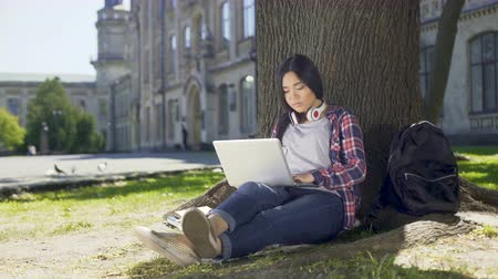 оценка : College student sitting under tree in campus, using laptop, writing final paper
