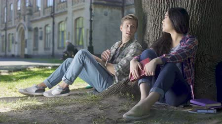 know : Multinational young man and woman sitting under tree, getting to know each other