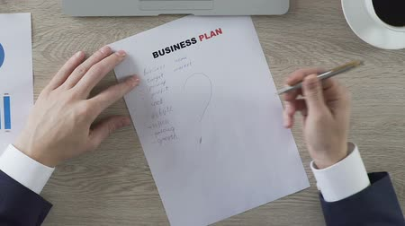 gazdasági pangás : Male putting question mark next to business plan elements, balling paper, doubts