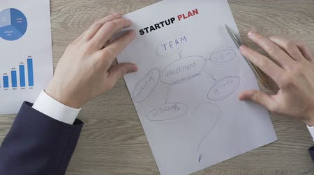 gazdasági pangás : Man putting big question mark next to key elements of startup plan, uncertainty Stock mozgókép