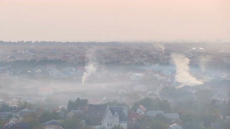 powerplant : Once charming town covered in thick layer of smog from industrial factories Stock Footage