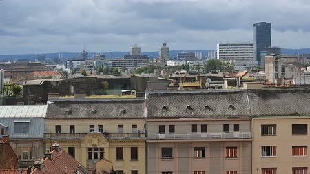 cityspace : Panorama of amazing historical building of Zagreb from the top, view on roofs